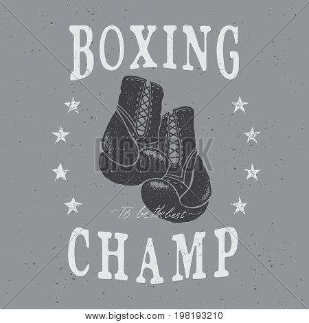 Sports boxing label, emblem .Prints design for t-shirts.Retro style