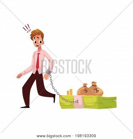Young man with hand chained to bundle of banknotes, money dependence concept, cartoon vector illustration isolated on white background. Man with hand chained to bundle of money, financial dependence