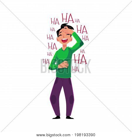 Young man laughing out loud, crying from laughter holding forehead, cartoon vector illustration isolated on white background. Full length portrait of young man bursting with laughter, laughing to tear