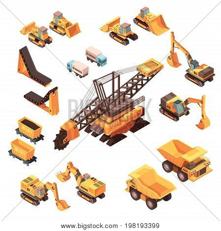 Isometric mining set of isolated machinery images with orange trucks bulldozers lorries excavators and various equipment vector illustration