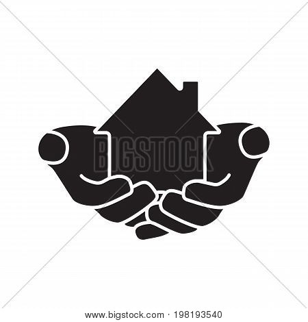 House in hands glyph icon. Home loan. Mortrage silhouette symbol. Real estate insurance. Hands holding building. Realty investment. Negative space. Vector isolated illustration