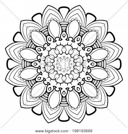 Mandala for color book. A pattern in the circle. Illustration for the album. Pattern for printing on fabrics. Figure for relaxation.