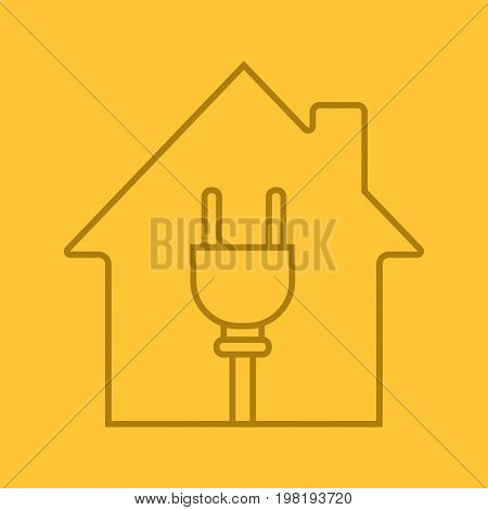 House with wire plug inside linear icon. Electric utilities. Home electrification. Thin line outline symbols on color background. House wiring. Vector illustration