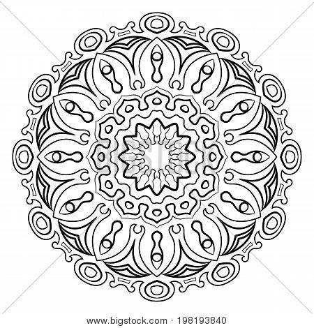 Mandala for color book. A pattern in the circle. Illustration for the album. Pattern for printing on fabrics. Figure for meditation.
