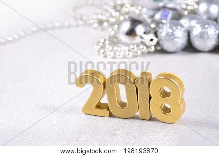 2018 Year Golden Figures And Silvery Christmas Decorations