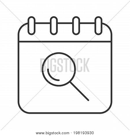 Search in calendar linear icon. Thin line illustration. Calendar page with loupe contour symbol. Vector isolated outline drawing