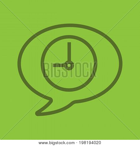Talk duration color linear icon. Clock inside chat bubble. Time to talk. Thick line outline symbols on color background. Vector illustration