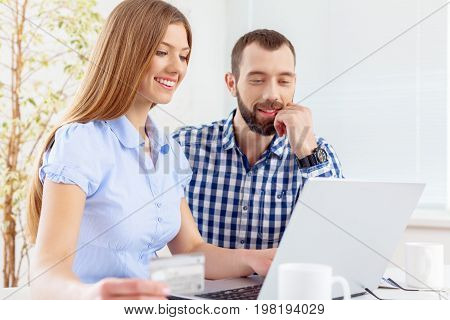 Office couple laptop work beautiful business romance