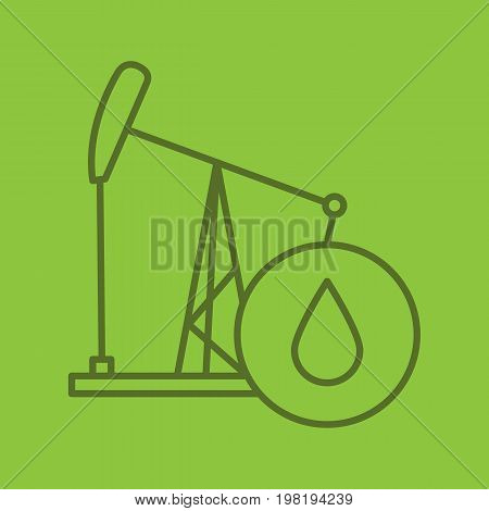 Oil derrick linear icon. Pump jack with oil drop. Thin line outline symbols on color background. Vector illustration