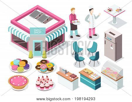 Sweet shop isometric set with macaroons, donuts, cupcakes, pie, baker and waiter, interior elements isolated vector illustration