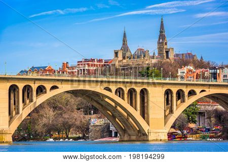 Georgetown, Washington DC, USA skyline on the Potomac River.