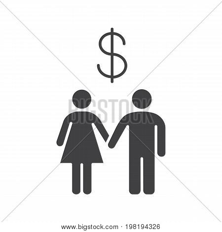 Family budget glyph icon. Silhouette symbol. Man and woman with US dollar sign above. Negative space. Vector isolated illustration