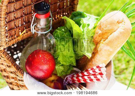 Picnic Wattled Basket Setting Food Drink Green