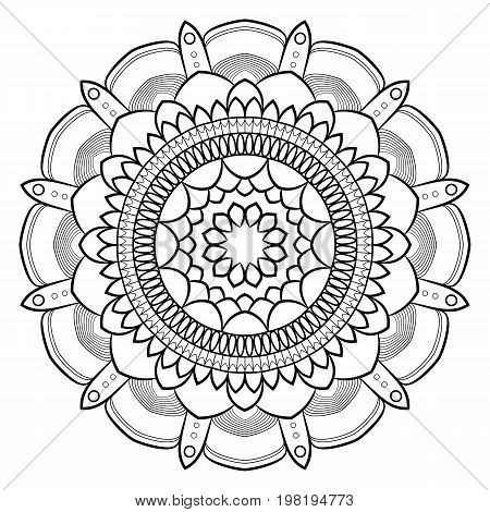 Monochrome mandala for color book. Symmetrical pattern in the circle. Illustration for the album. Pattern for printing on fabrics. Figure for relaxation and meditation.