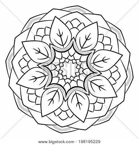 Contour mandala for color book. Monochrome image. Symmetrical pattern. Illustration for scrapbook. Picture for meditation and relaxation. Beautiful graphics for the album. Stylization of foliage.