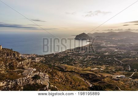 The natural reserve of Mount Cofano on the Sicilian coast is seen from the city of erice