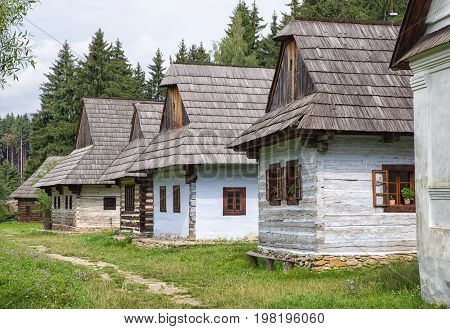 Wooden cottages in open-air museum of Slovak village Martin - Slovakia