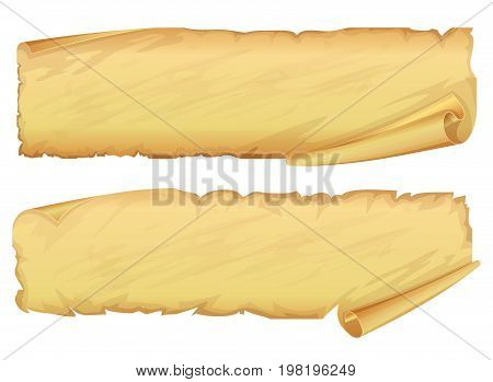 Two golden ribbon of parchment on white background