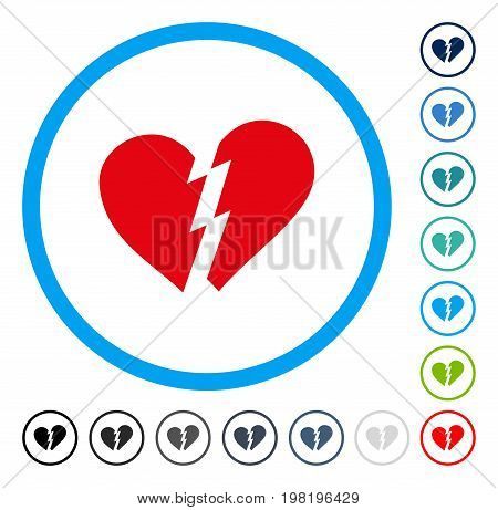 Broken Heart icon inside circle frame. Vector illustration style is a flat iconic symbol in some color versions.
