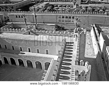 Top view onto Medina of Sousse, Tunisia. Black and white