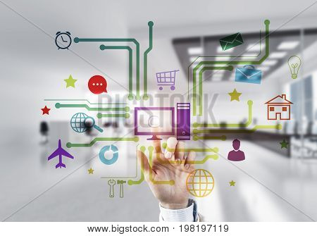 Hand of businesswoman touch colored media user panel on screen