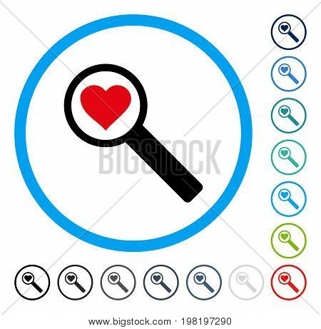 Find Love icon inside circle frame. Vector illustration style is a flat iconic symbol in some color versions.