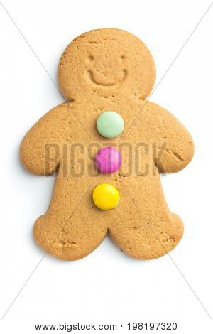 Sweet gingerbread man isolated on white background. Xmas gingerbread.