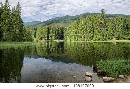 Reflection on tarn Vrbicke pleso in Low Tatras mountains Slovakia