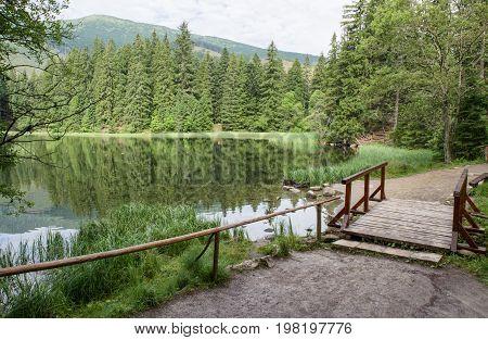 Lake in forest - Tarn Vrbicke pleso Slovakia