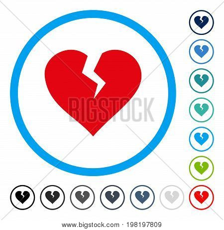 Heart Break icon inside round frame. Vector illustration style is a flat iconic symbol in some color versions.