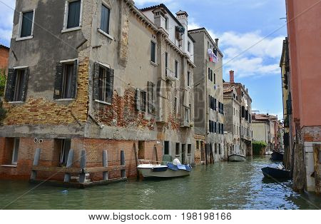 Residential buildings on one of the canals in the Dorsoduro quarter of Venice