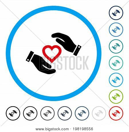 Love Heart Care Hands icon inside circle frame. Vector illustration style is a flat iconic symbol in some color versions.