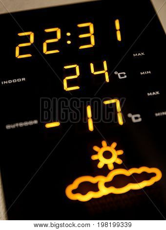 Digital home weather meteo station. Cold winter. Low temperature