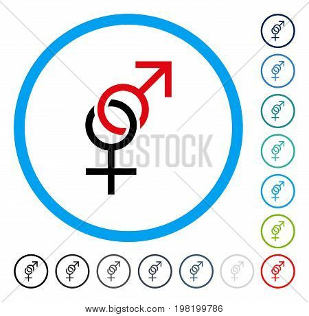 Sex Symbol icon inside round frame. Vector illustration style is a flat iconic symbol in some color versions.