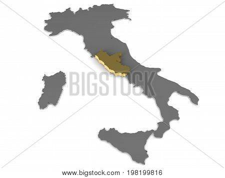 Italy 3d metallic map, whith lazio region highlighted 3d render