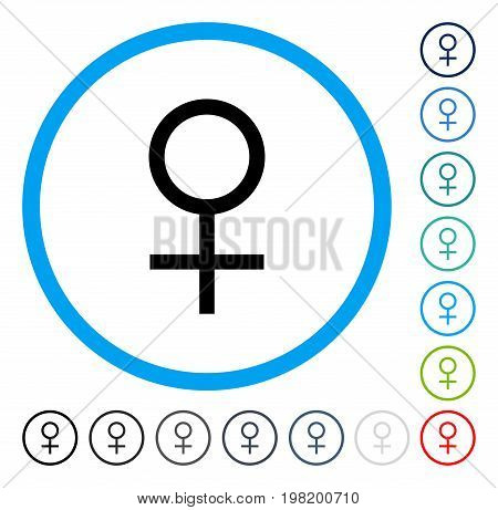 Venus Female Symbol icon inside circle frame. Vector illustration style is a flat iconic symbol in some color versions.