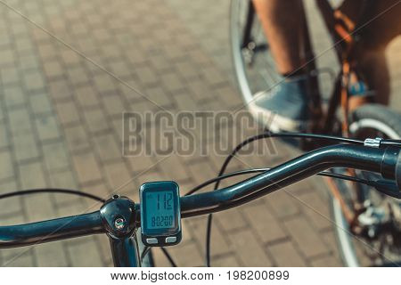 Bicycle Computer Odometer On Steering Wheel On Cyclist Background Point Of View Shot