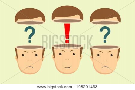 Leadership concept with question marks and red exclamation mark in the open heads on background