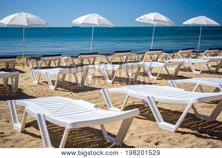 Beautiful empty beach with rows of sun beds under straw umbrellas