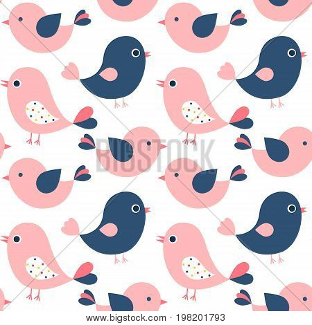 Cute vector seamless pattern with pink and blue cartoon birds for baby products invitations and kid clothes