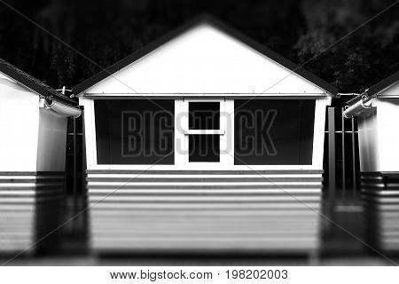 Horizontal black and white empty mini shop bokeh background hd