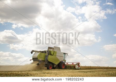 Working combine harvester in a wheat field on a sunny summer day. Agricultural background.