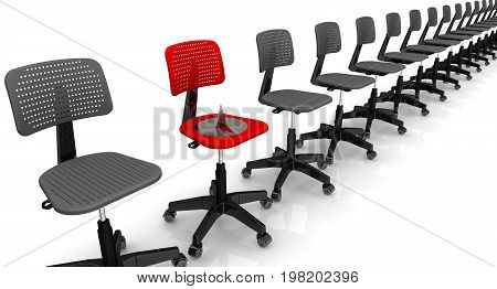 Dangerous vacancy. Empty black office chairs on a white surface lined up in row and large and sharp thumbtack lying on one red office chair. Isolated. 3D Illustration