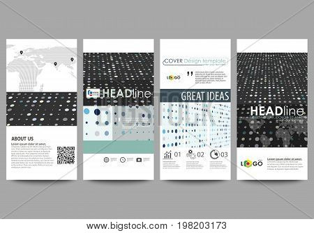 Flyers set, modern banners. Business templates. Cover template, easy editable abstract layouts. Soft color dots with illusion of depth and perspective, dotted background. Elegant vector design.