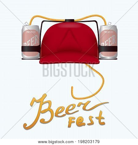 vector red plastic helmet for drinks with two aluminum beer cans and a hose. Inscription - beer fest
