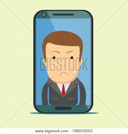 Businessman with sad expression. Stock vector illustration for poster, greeting card, website, ad, business presentation, advertisement design.