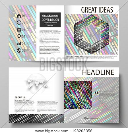 Business templates for square design bi fold brochure, flyer, booklet, report. Leaflet cover, vector layout. Colorful background made of stripes. Abstract tubes and dots. Glowing multicolored texture.