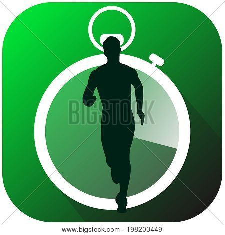 vector fitness run joking sport application icon