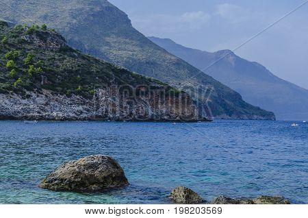 The mountains fall abruptly at the height of the reserve of the zingaro sicily
