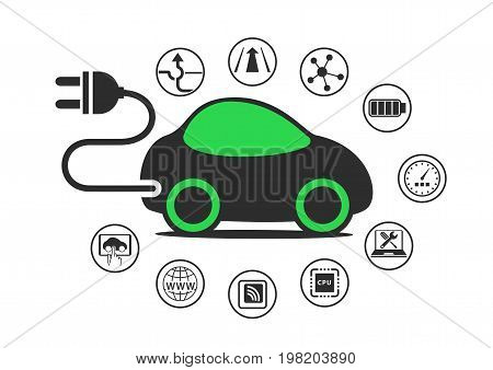 Electric car and electric vehicle concept as vector illustration. Car with power plug to enable electric charging